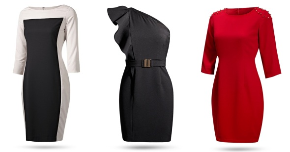 deepika padukone for van heusen-color blocked sheath dress, one-shoulder black dress, houlder studded red sheath-sohelee3