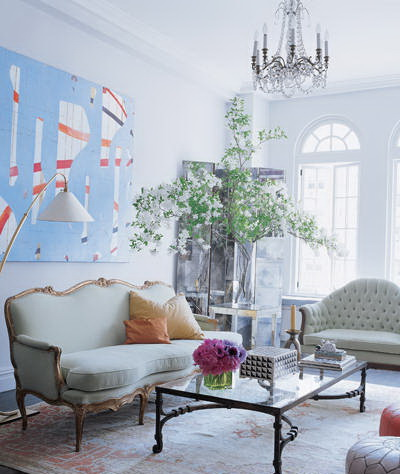 candace bushnell's manhattan apartment-living room the celebrity way-sohelee