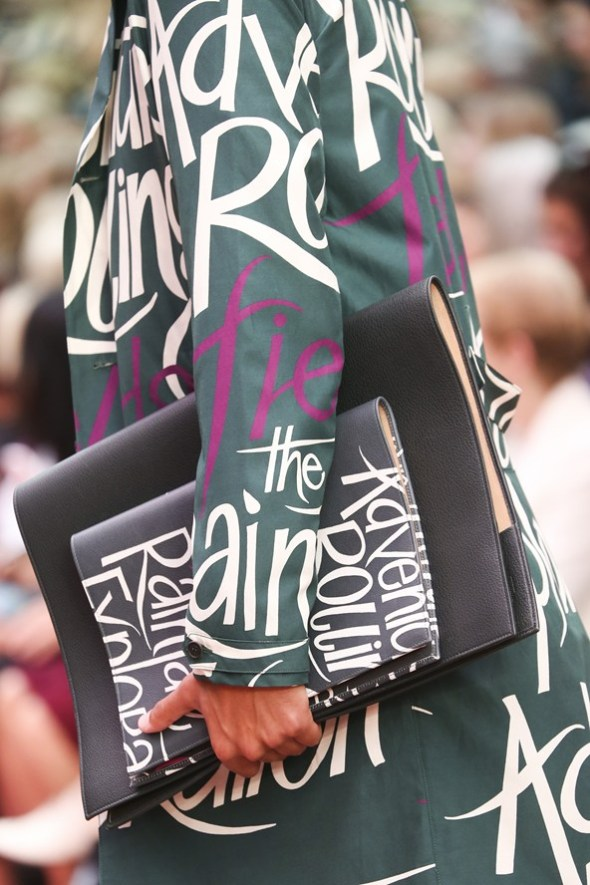 Book Cover Print Trench Coat and Portfolio Bag- Burberry Prorsum SS15- LFW14- Sohelee