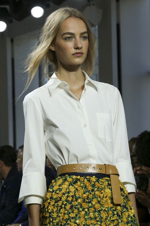 White Shirt with Floral Skirt- Michael Kors SS15- NYFW14- Sohelee